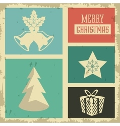 Pine tree star and bell icon merry christmas vector