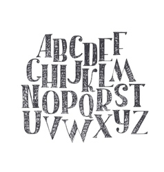 English hand drawn abc from a to z capital font vector