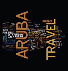 Aruba travel text background word cloud concept vector