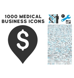 Banking Map Marker Icon with 1000 Medical Business vector image vector image
