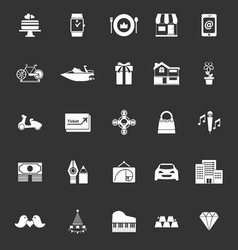 Birthday gift icons on gray background vector