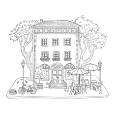 black and white sketch city vector image