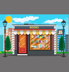 book shop or store building and cityscape vector image vector image