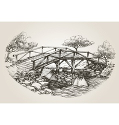 Bridge over river sketch vector image