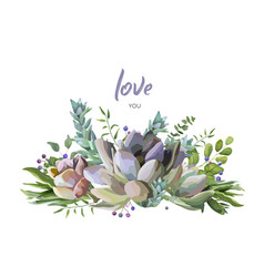 Card design with succulent flower plant berry vector