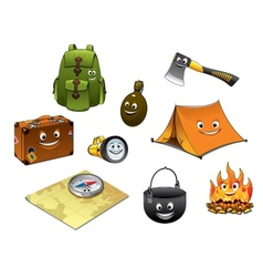 Cartoon camping and travel icons set vector