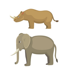 cartoon funny rhinoceros and elephant isolated on vector image