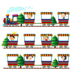 Children riding on trains vector