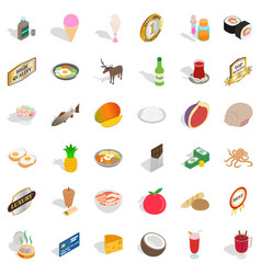 Chow icons set isometric style vector