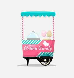 cotton candy cart kiosk on wheels retail sweets vector image
