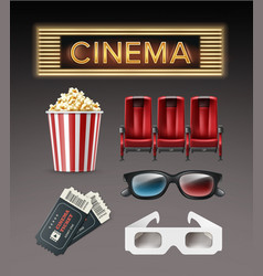 different cinema stuff vector image vector image
