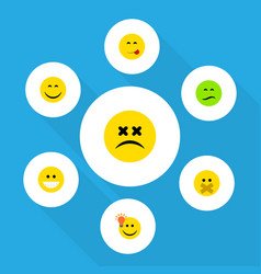 Flat icon face set of smile hush have an good vector