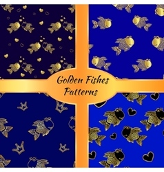 Golden fish seamless pattern vector