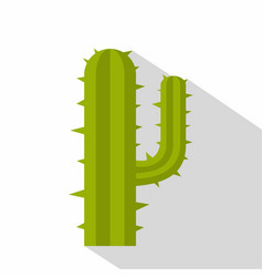 Green mexican cactus icon flat style vector