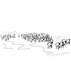 Hand drawn herd vector