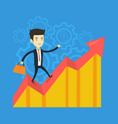 Happy business man standing on profit chart vector