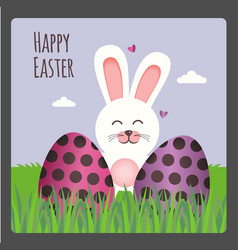 happy easter greeting card with two eggs and bunny vector image vector image