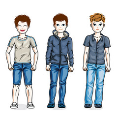 Happy young teenager boys posing in stylish vector