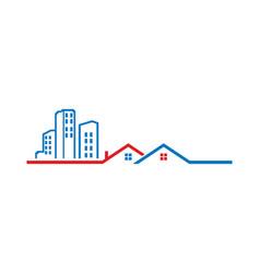 Home building line cityscape logo vector
