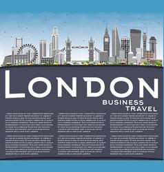 London skyline with gray buildings blue sky and vector