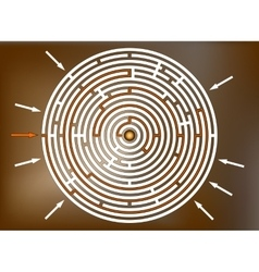 Reaching the goal in labyrinth brown vector