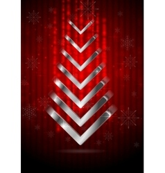 Red Christmas greeting background with silver fir vector image