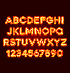 red fluorescent neon font on dark background vector image