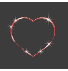 Red heart sparkly Glittering outline tape vector image vector image