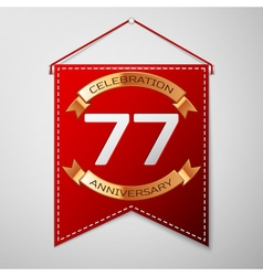 Red pennant with inscription seventy seven years vector