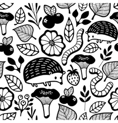Seamless pattern with small forest animals and vector