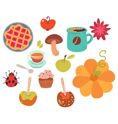 set of cute autumn food vector image vector image