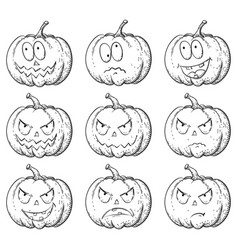 set of pumpkins vector image vector image
