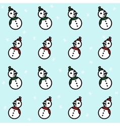 Snowmen and snowflakes pattern vector
