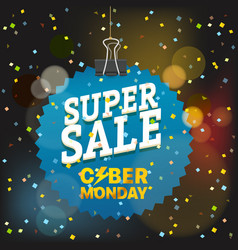 super sale concept the cyber monday blue tag vector image