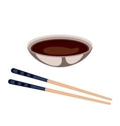 Sushi sauce food and chopsticks vector