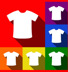 T-shirt sign set of icons with flat vector