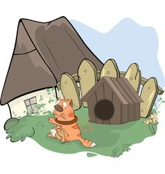Tabby cat and a doghouse cartoon vector