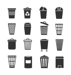 Trash can waste basket and bin garbage vector image