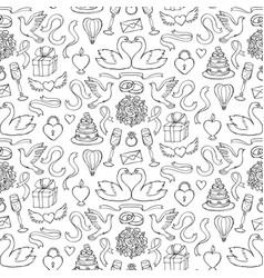 wedding hand drawn seamless pattern vector image