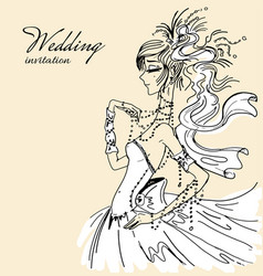 wedding invitation with beautiful bride vector image
