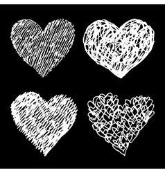 White sketched hearts set on black background vector image