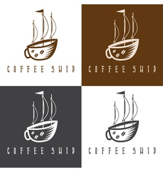 Ship and coffee cup concept set vector
