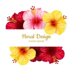 Hibiscus flower invitation card vector