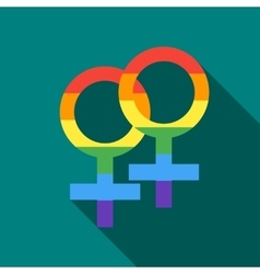 Two female rainbow gender symbols icon flat style vector image
