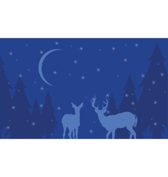 At night deer scenery winter of silhouettes vector