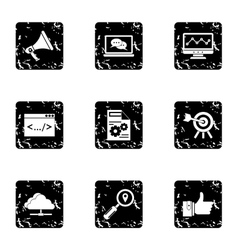 Seo promotion icons set grunge style vector