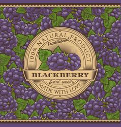 Vintage blackberry label on seamless pattern vector