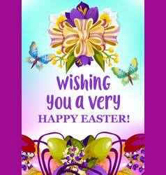 Easter egg and spring flowers greeting card design vector