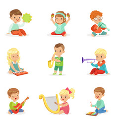 Little kids sitting and playing musical instrument vector