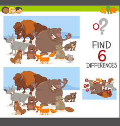 Spot differences game with animals vector